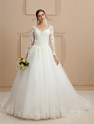 cheap -Ball Gown V-neck Chapel Train Lace Tulle Wedding Dress with Beading Appliques by LAN TING BRIDE®