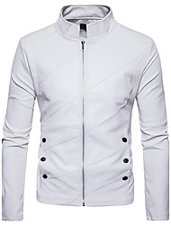 cheap -Men's Street chic Jacket-Solid Colored Stand