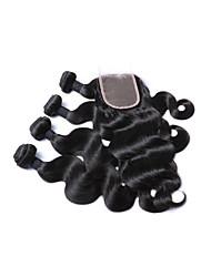 economico -Cappelli veri Brasiliano Ciocche a onde capelli veri Ondulato naturale Extensions per capelli 5 pezzi Nero