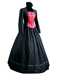 Classic/Traditional Lolita Dress Cosplay Lolita Dress Black Patchwork Poet Long Sleeves Coat Dress For Cotton
