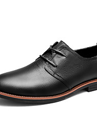 cheap -Men's Shoes Nappa Leather Winter Fall Comfort Oxfords Lace-up for Casual Party & Evening Black Coffee Brown