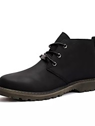 cheap -Men's Shoes Leather Spring Fall Combat Boots Boots Mid-Calf Boots Lace-up For Casual Khaki Dark Brown Yellow Black