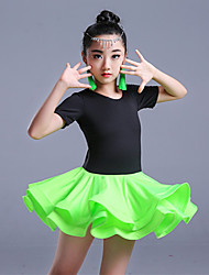 cheap -Latin Dance Outfits Children's Training Milk Fiber Short Sleeve High Skirts Leotard by Shall We®