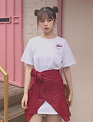 Damen Solide Plaid/Karomuster Einfach Lässig/Alltäglich T-Shirt-Ärmel Rock Anzüge,Rundhalsausschnitt Sommer Kurzarm Mikro-elastisch