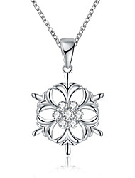 cheap -Women's Flower Cubic Zirconia Zircon Pendant Necklace Chain Necklace  -  Personalized Fashion Geometric Silver Rose Gold Necklace For