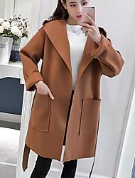 Cappotto Da donna Per uscire Casual Moda città Autunno Inverno,Tinta unita Con cappuccio Cashmere Lungo