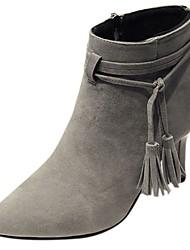 preiswerte -Damen Schuhe PU Winter Herbst Komfort Pumps High Heels Niedriger Heel Stöckelabsatz Spitze Zehe Booties / Stiefeletten Reißverschluss
