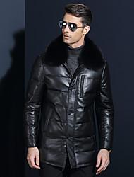 Пальто Простое Обычная Пуховик Для мужчин,Однотонный На каждый день Лисий Мех Овчина Пух белой утки,Длинный рукав