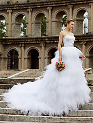 cheap -Ball Gown Sweetheart Court Train Tulle Custom Wedding Dresses with Beading Flounced Ruffles by LAN TING BRIDE®