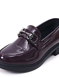 cheap -Women's Shoes Knit PU Fall Comfort Loafers & Slip-Ons Block Heel Round Toe For Casual Burgundy Black