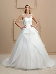 Ball Gown Illusion Neckline Court Train Organza Tulle Wedding Dress with Appliques by LAN TING BRIDE®