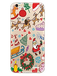 cheap -Case For Apple iPhone X iPhone 8 iPhone 8 Plus Transparent Pattern Back Cover Christmas Soft TPU for iPhone X iPhone 8 Plus iPhone 8