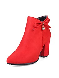 cheap -Women's Shoes Flocking Fall Winter Comfort Boots Chunky Heel Pointed Toe Rhinestone Bowknot Zipper For Outdoor Office & Career Red Dark