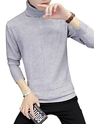 cheap -Men's Daily Plus Size Casual Regular Pullover,Solid Turtleneck Long Sleeves Rayon Polyester Winter Fall Medium Micro-elastic
