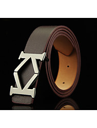 cheap -Men's Alloy Waist Belt,Brown White Black Camel Solid Solid Fashion