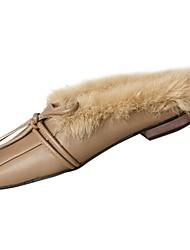 economico -Da donna Scarpe PU (Poliuretano) Inverno Comoda Fodera di pelliccia Zoccoli e ciabatte Punta tonda Per Casual Grigio Marrone chiaro