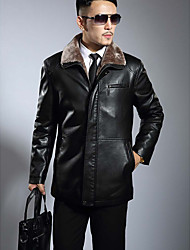 cheap -Men's Plus Size Simple Casual Winter Leather Jacket,Solid Stand Long Sleeve Regular Lambskin
