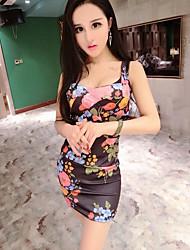 Damen Bodycon Kleid-Lässig/Alltäglich Blumen Gurt Mini Ärmellos Andere Sommer Mittlere Hüfthöhe Unelastisch Undurchsichtig