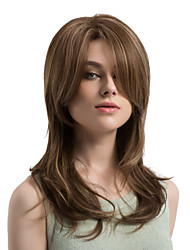 cheap -Synthetic Wig Natural Wave Layered Haircut / With Bangs Synthetic Hair Highlighted / Balayage Hair / Side Part Brown Wig Women's Long Capless Brown