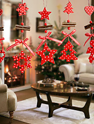 cheap -12Pcs/Set Wind Chimes Christmas Tree Ornaments Snowflake Heart Star Bell Xmas Party Decor