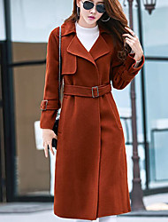 cheap -Women's Daily Simple Casual Winter Fall Coat,Solid Shawl Lapel Long Sleeve Long Cotton Others