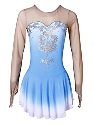 cheap -Figure Skating Dress Women's Girls' Ice Skating Dress Blue Rhinestone High Elasticity Performance Skating Wear Handmade Long Sleeves Ice