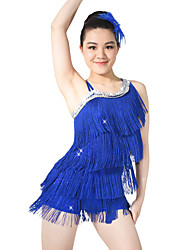 cheap -Latin Dance Dresses Sequins Women's Children's Performance Elastic Sequined Lycra Paillette Tassel Sleeveless Natural Dress Headwear