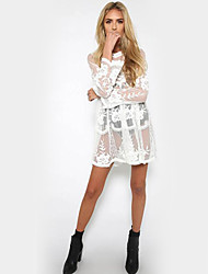 Women's Lace|Boho Casual/Daily Party Holiday Sexy Street chic Sophisticated Bodycon Lace Dress,Solid Round Neck Knee-length Long Sleeve Polyester