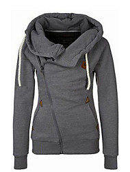 Women's Daily Going out Casual Hoodie Jacket Solid Hooded Without Lining Micro-elastic Polyester Winter Fall