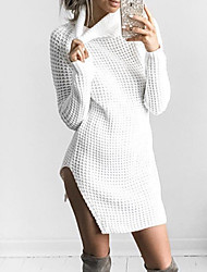 cheap -Women's Long Sleeves Wool Pullover - Solid Stand