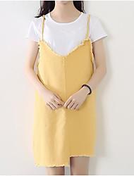 abordables -Mujer Simple Noche Verano T-Shirt Falda Trajes,Con Tirantes Un Color Manga Corta
