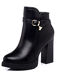 cheap -Women's Shoes Leatherette Winter Fashion Boots Fur Lining Fluff Lining Boots Chunky Heel Pointed Toe Booties/Ankle Boots Zipper For