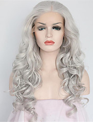 cheap -Women Synthetic Wig Lace Front Medium Length Long Curly Wavy Natural Wave Loose Wave Water Wave Grey Lolita Wig Party Wig Celebrity Wig