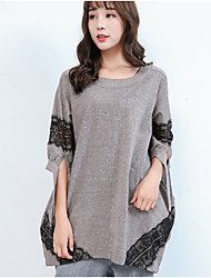 cheap -Women's Daily Casual T-shirt,Color Block Round Neck Half Sleeves Cotton Linen
