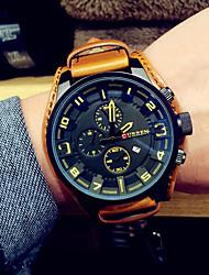 preiswerte -Herrn Modeuhr Armbanduhr Armbanduhren für den Alltag Japanisch Quartz Kalender Leder Band Schwarz Braun