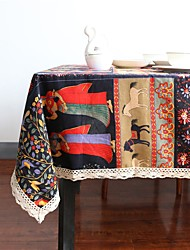 Rectangular Square Bohemian Style Table cloths , Linen / Cotton Blend Material Table/Desk Home Hotel Dining Table Table Decoration Home