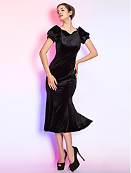 cheap -Mermaid / Trumpet Queen Anne Tea Length Velvet Little Black Dress / Vintage Inspired Cocktail Party / Prom Dress with Pleats by TS Couture®