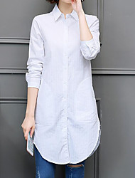 cheap -Women's Daily Going out Plus Size Vintage Street chic All Seasons Shirt,Striped Shirt Collar Long Sleeves Others