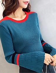 Недорогие -Жен. Контрастных цветов На каждый день Пуловер, Повседневные Длинный рукав Круглый вырез Зима