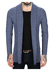 cheap -Men's Daily Casual Active Solid Color Block Shirt Collar Cardigan, Long Sleeves Spring Fall Linen