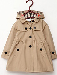 cheap -Girls' Solid Trench Coat,Others Fall Long Sleeve Red Khaki