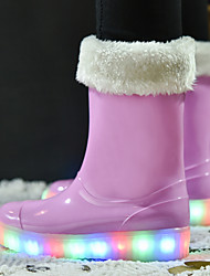 Girls' Shoes Leatherette Rubber Fall Winter Light Up Shoes Vulcanized Shoes Snow Boots Boots Mid-Calf Boots LED For Casual Outdoor