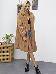 Women's Daily Going out Work Simple Vintage Casual Active Winter Fall Fur Coat,Solid Notch Lapel Long Sleeve Long Faux Fur Polyester