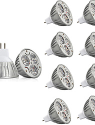 economico -10 pezzi 3W 250lm MR16 Faretti LED MR16 3 Perline LED LED ad alta intesità Decorativo Bianco caldo Luce fredda 12V