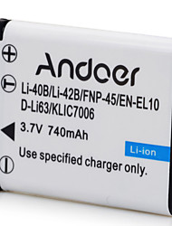Andoer Li-40B/42B Rechargeable Replacement Camera Camcorder Li-ion Lithium Battery 740mAh Half Coded for Nikon EN-EL10 for Olympus Li-40B Li-42B for P