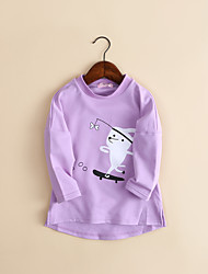 cheap -Girls' Solid Animal Print Blouse,Cotton Spring Fall Long Sleeve Solid Color Cartoon Leisure Korean Adorable White Lavender