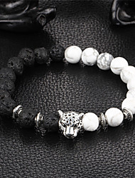 Men's Women's Bracelet Strand Bracelet Onyx Natural Handmade Stone Alloy Round Leopard Jewelry For Party Gift