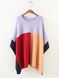 Standard Pullover Da donna-Per uscire Casual Monocolore Rotonda Mezza manica Rayon Autunno Inverno Medio spessore Media elasticità