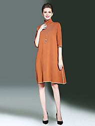 Ample Robe Femme Sortie Décontracté / Quotidien simple,Rayé Mao Mi-long Demi Manches Rayonne Polyester Nylon Automne Hiver Taille Normale