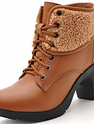 cheap -Women's Shoes Nappa Leather Fall Winter Snow Boots Fashion Boots Bootie Boots Chunky Heel Booties/Ankle Boots Lace-up For Casual Party &